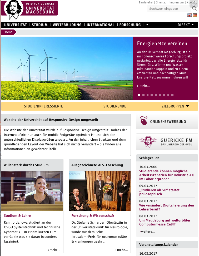 Screenshot der Uni-Website im Responsive Design 2